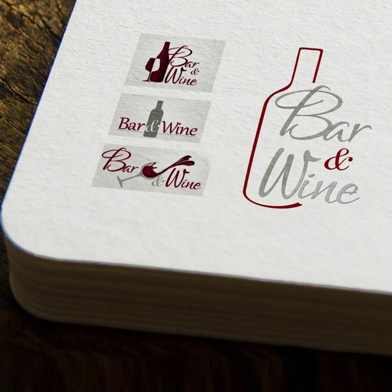 Propozycje i finalne logo Bar&wine