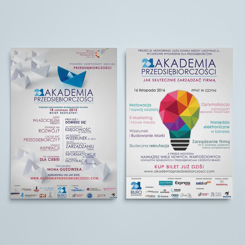 Plakaty wydarzenia 2+1 Akademia Przedsiębiorczości