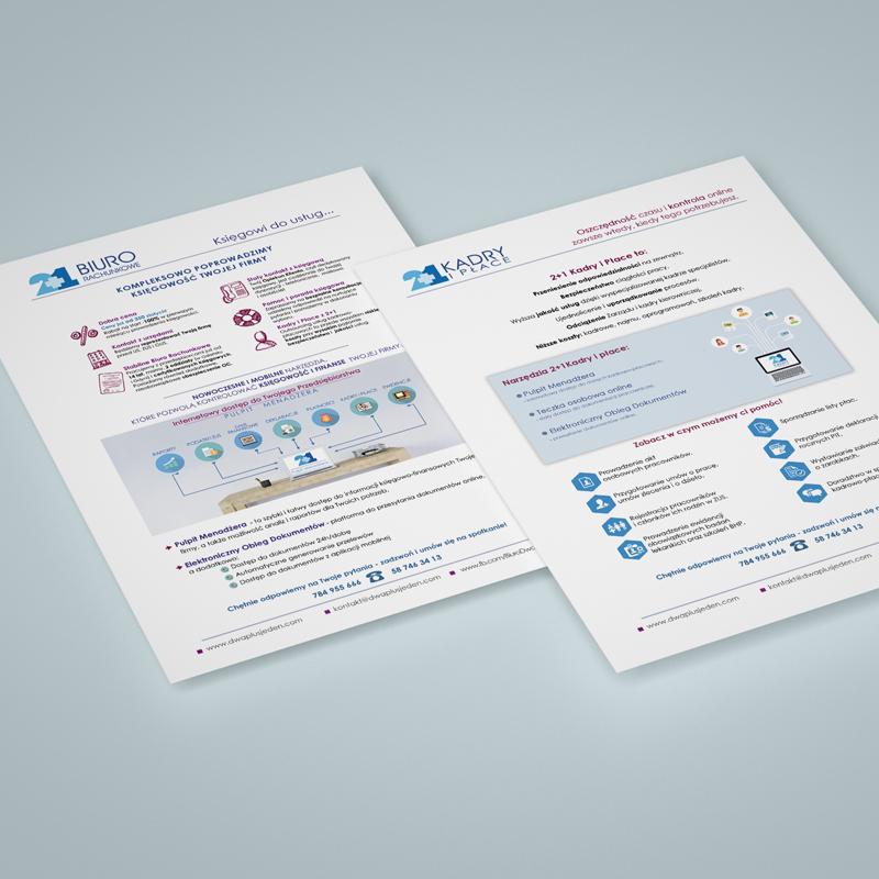 Wkładki informacyjne do oferty 2+1 Biuro Rachunkowe